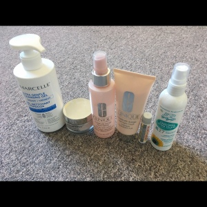 Image Description: an image of fragrance-free products I use for the face &body. More detailed descriptions on each product is in the blog.