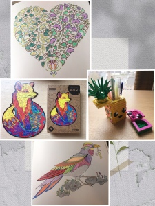 [Image Description: an image collage of four photos- two colouring pages: a bird and a heart; a lego (pineapple) pencil holder and small item holder; unidragon figured wooden puzzle: alluring fox].