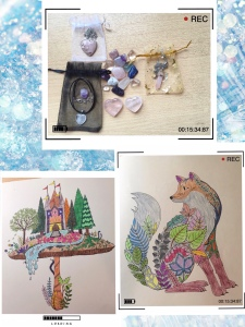 [Image Description: an image collage of three photos- two colouring pages, one is a fox, the other is a castle and trees on top of a giant mushroom; another image is a small selection of gemstone tumbler and gemstone jewelries].